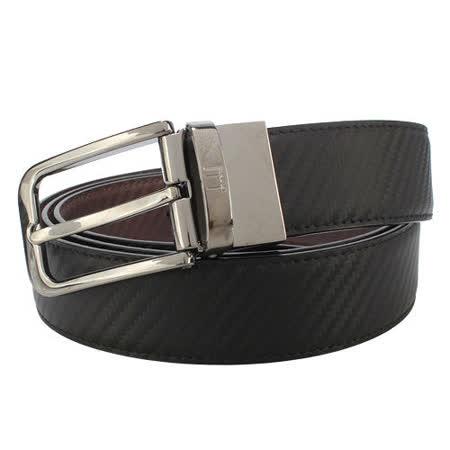 dunhill 經典碳纖維可轉式扣頭穿式皮帶-黑色