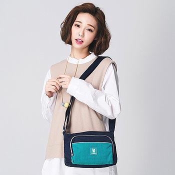 【金安德森】樂活美學 小型正方款斜側輕旅包-深藍