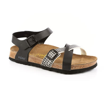 勃肯Papillio 159221。BARCELONA巴塞隆納 繞踝涼鞋(黑白)