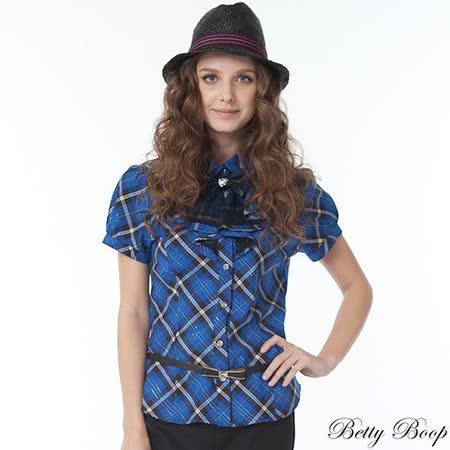 【Betty Boop貝蒂】娃娃領網紗荷葉邊格紋襯衫(共二色)