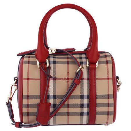 BURBERRY 經典戰馬織布格紋手提/斜背波士頓包(紅)