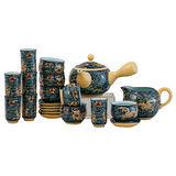 【鹿港窯】茶具組浮雕-富貴金龍21件品香組(瓷器)