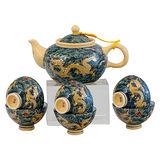 【鹿港窯】茶具組浮雕-富貴金龍8件(瓷器)