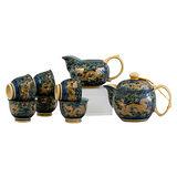 【鹿港窯】茶具浮雕-富貴金龍十件式御用茶具組