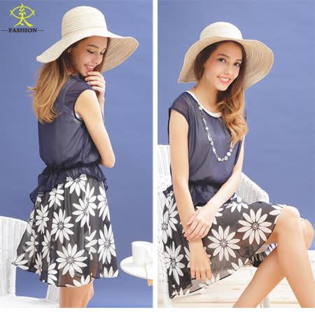 玄太-簡約拼接時尚印花雪紡洋裝(藍)