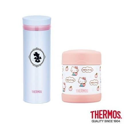 THERMOS膳魔師 不鏽鋼真空保溫食物罐0.3L+保溫杯0.35L 2入組(F3004KT6+JNO-350DS-LB)