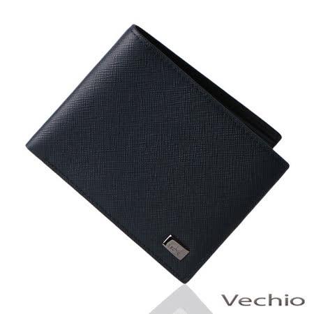VECHIO 經典斜紋8卡短夾(午夜藍)VE034W04BL