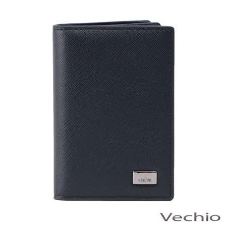 VECHIO 經典斜紋透明窗名片夾(午夜藍)VE034W05BL