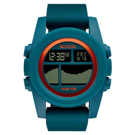 NIXON Unit Tide 飆悍美式軍風運動腕錶-錶帶藍綠