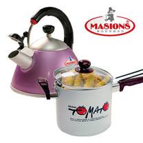 [美心Masions] 珍珠鍋系列- 多功能料理鍋18CM  +  日式笛音壺2.5Ltr