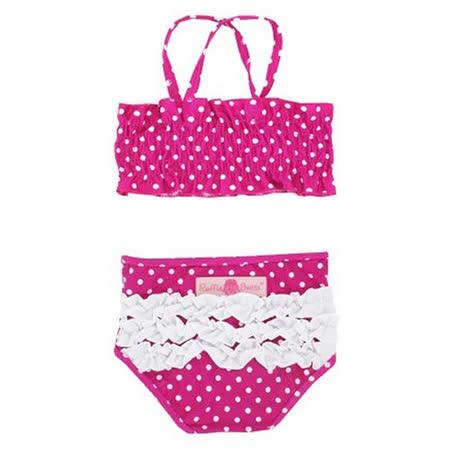 美國 RuffleButts 小女童兩截式泳裝_覆盆子白點點泳裝  (RBSW08-01)