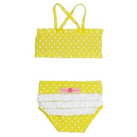 美國 RuffleButts 小女童兩截式泳裝_檸檬黃白點點泳裝 (RBSW08-03)