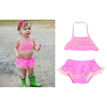 美國 RuffleButts 小女童比基尼泳裝_熱情粉縐紗泳裝 (RBSW06-01)