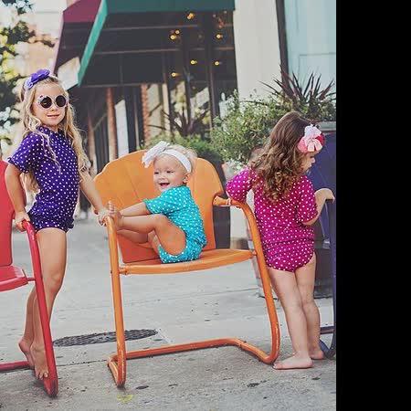美國 RuffleButts 小女童比基尼泳裝_深紫白點點泳裝 (RBSW07-07)