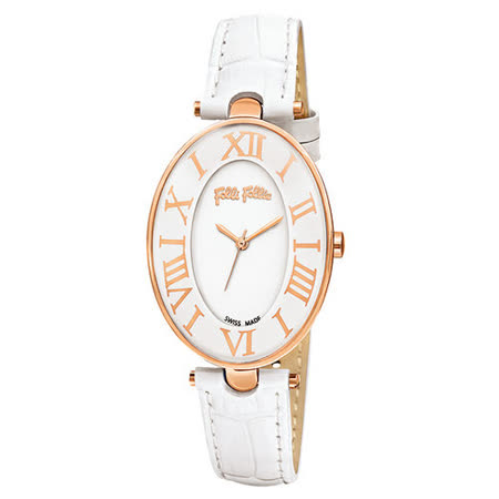 Folli Follie 嫵媚翩舞時尚皮帶腕錶-白