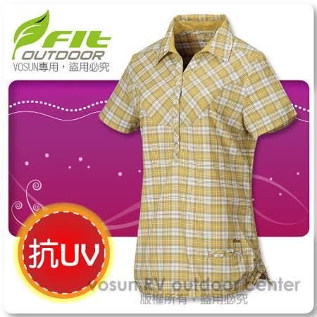 【維特 FIT】女新款 格紋吸排抗UV短袖襯衫_ FS2201 薑黃色