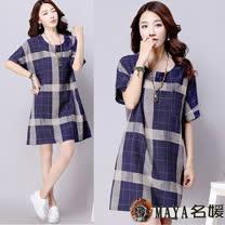 【Maya 名媛春夏】(XL~3XL)親膚感棉麻料 不敗質感格紋 簡約一件式連衣裙-藍色