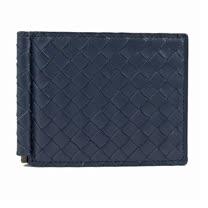 BOTTEGA VENETA 純手工編織小羊皮鈔票夾式短夾.深藍