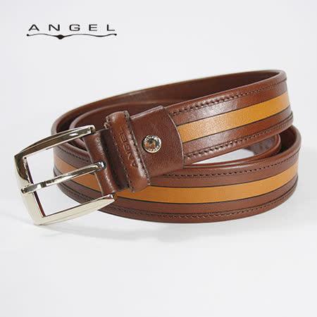 ANGEL義式拼接穿針休閒牛皮皮帶0566-96812