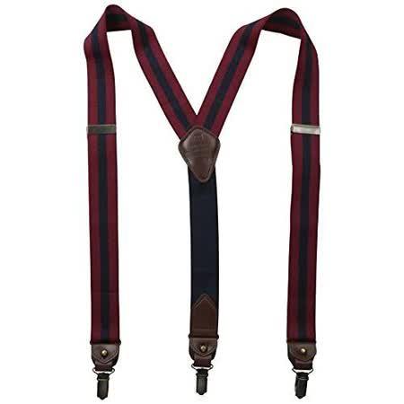 Tommy Hilfiger 2015男時尚彈性寶藍蔓越莓色吊帶褲夾【預購】