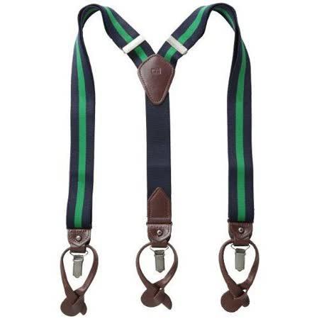 Tommy Hilfiger 2015男時尚彈性寶藍綠色吊帶褲夾【預購】