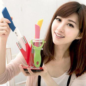 JoyLife 絢彩輕巧陶瓷刀具刀架 5件組