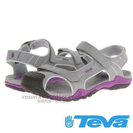【美國 TEVA】兒童 CHILDREN'S TOACHI 2 水陸護趾涼鞋/休閒運動款.戶外拖鞋.海灘鞋.適沙灘.溯溪/ TV1003702GPRP 灰/紫