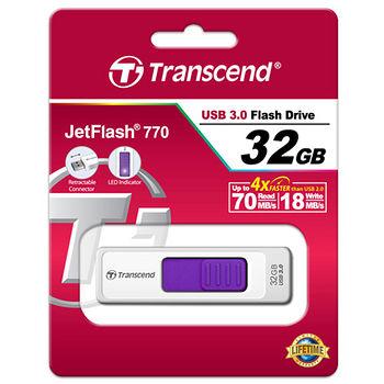 創見32G USB3.0純白極速伸縮碟JF770