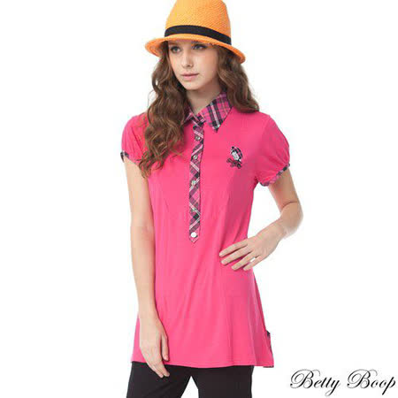 【Betty Boop貝蒂】格紋滾邊反折釦帶天絲棉POLO衫(共二色)
