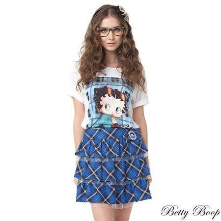 【Betty Boop貝蒂】格紋網紗蛋糕短裙(寶藍)
