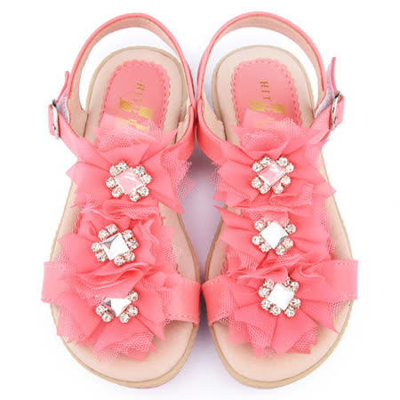 童鞋城堡-日本娃娃 中大童 法式浪漫乳膠涼鞋9277-桃