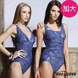 【Heatwave熱浪】銀炫寶藍 加大萊克連身泳裝(深V款)-81331