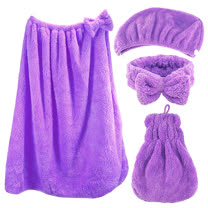 雪花絨四件組-浴帽+浴裙+裙襬式擦手巾+蝴蝶結束髮帶/潤紫