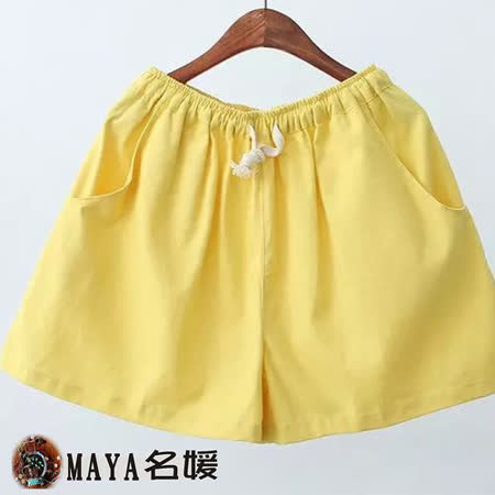 【Maya 名媛春夏】寬鬆版型 自然棉麻用料 寬褲口 視覺顯瘦 修飾下半身曲線 中彈性腰休閒短褲-黃色