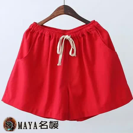 【Maya 名媛春夏】寬鬆版型 自然棉麻用料 寬褲口 視覺顯瘦 修飾下半身曲線 中彈性腰休閒短褲-正紅色
