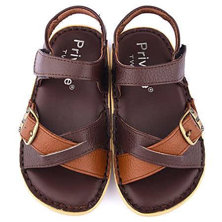 童鞋城堡-二等兵 中大童 雙色交叉真皮涼鞋5812-咖