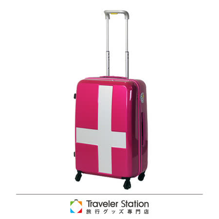 《Traveler Station》innovator 19.5吋十字靜音輪旅行箱-粉色銀貼紙