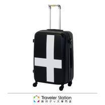 《Traveler Station》innovator 25吋十字靜音輪旅行箱-黑色白貼紙