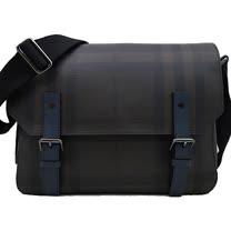 BURBERRY 經典格紋橫式吸釦翻蓋斜側背包(黑/藍)