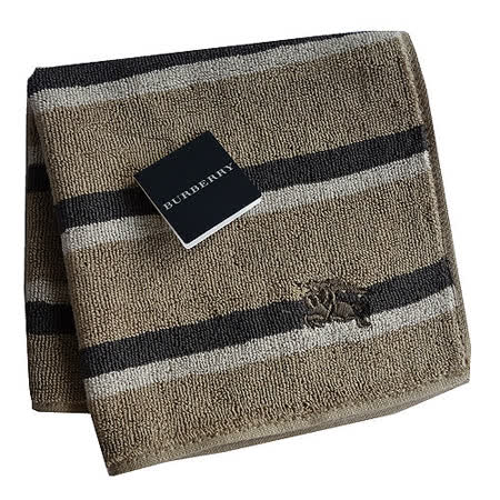 BURBERRY 經典戰馬刺繡LOGO橫條小方巾(卡其)