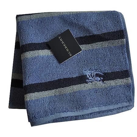 BURBERRY 經典戰馬刺繡LOGO橫條小方巾(灰藍)