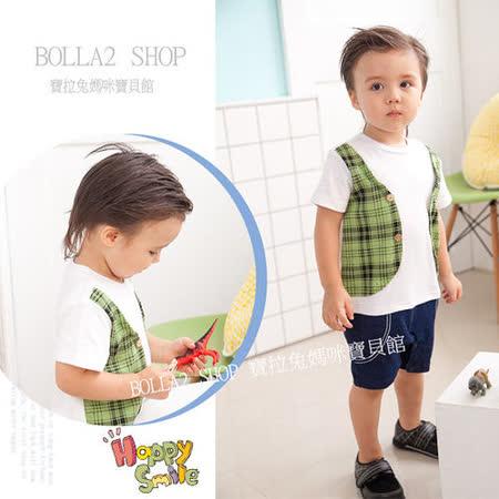 ☆BOLLA2☆ ☆  夏新款 綠格背心純棉仿牛仔假3件造型連身衣