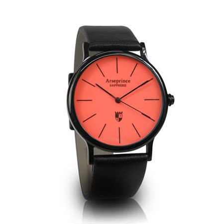 【Arseprince】彩虹之夜簡約中性錶-橘紅