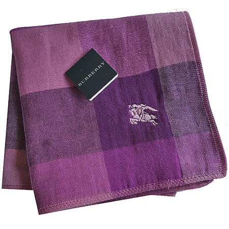 BURBERRY 經典戰馬刺繡LOGO雙面用小方巾(紫)