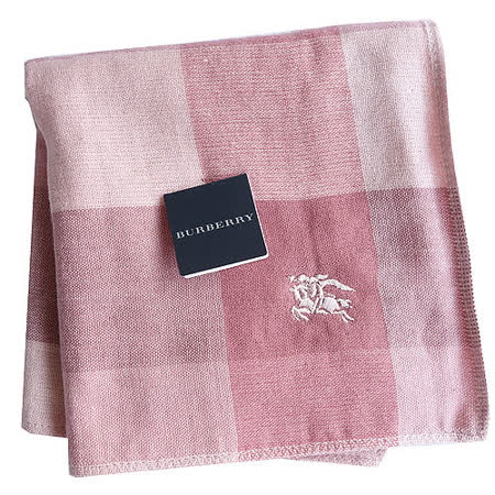 BURBERRY 經典戰馬刺繡LOGO雙面用小方巾(粉紅)