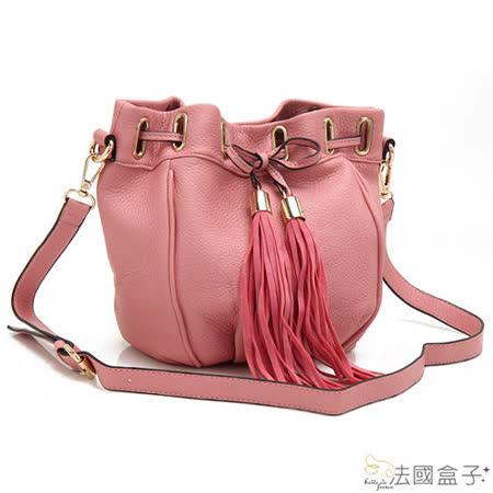 【法國盒子】韓版風尚Balloon流蘇水桶包(粉色)1312