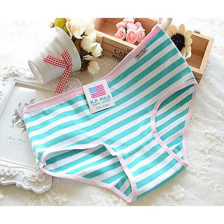 【Olivia】可愛海軍風棉質條紋內褲-綠色