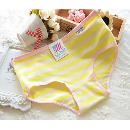 【Olivia】可愛海軍風棉質條紋內褲-黃色