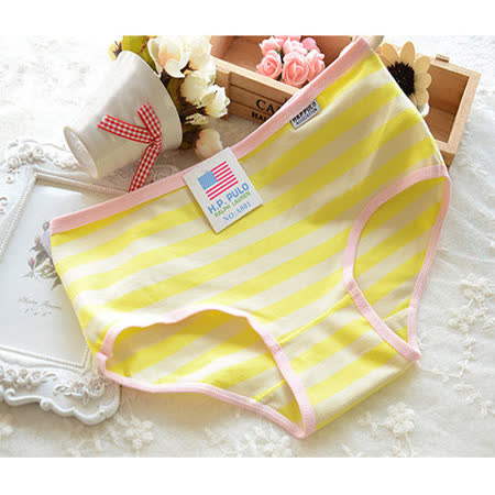 【Olivia】可愛海軍風棉質條紋內褲-玫紅