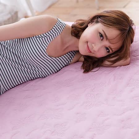 J-bedtime【蝶舞飛揚】雙人絕美壓紋X防汙防塵床包式保潔墊(粉蝶)
